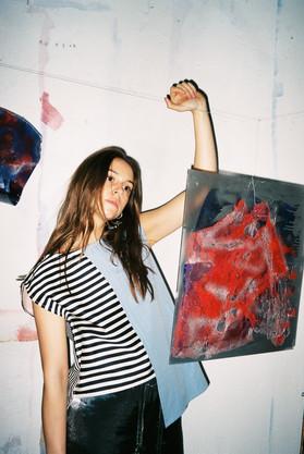 Photoshoot with my artwork during my exhibition at STUDIO183, BIKINI Berlin  Photo by Veronika Hopponen Clothings from STUDIO183