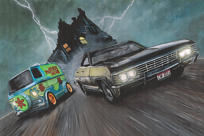 Supernatural Impala with Scooby Doo's Mystery machine, scare house and lightning