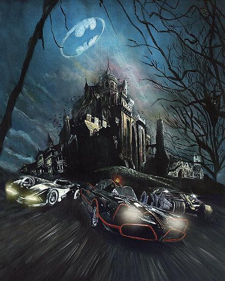 batmobiles and Wayne manor Batman front view
