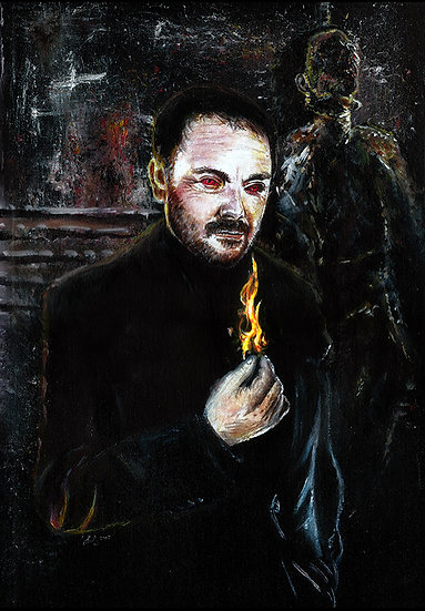 Mark Sheppard as Crowley with red eyes and flames front view