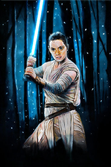 Rey with lightsaber with trees and snow front view