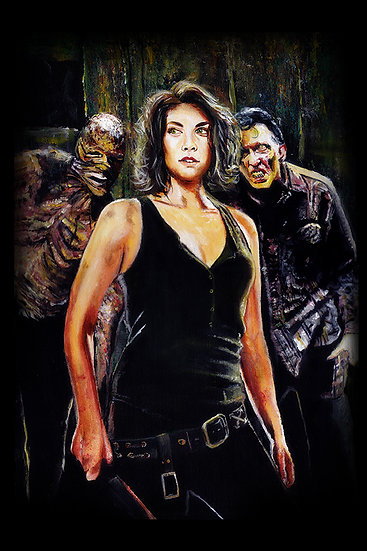 Lauren Cohen as Maggie with walker zombie front view