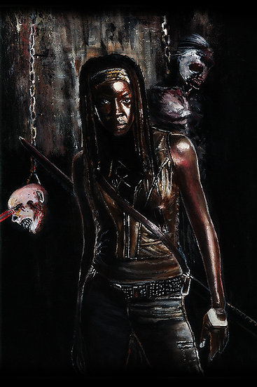Danai Gurira as Michonne with walker zombie front view