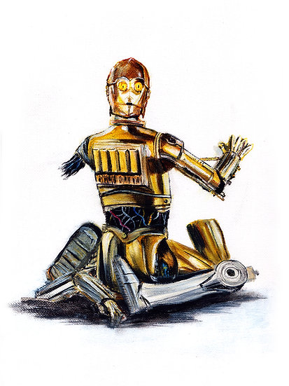 C3P0 in broken pieces front view