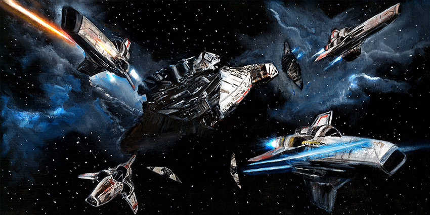 Battlestar Galactica with Vipers and Raiders front view