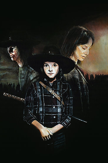 Judith Grimes, Carl Grimes and Lori Grimes, brother, mother, sister with walkers