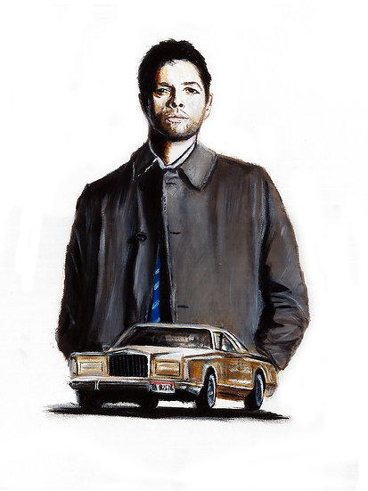 Misha Collins as Castiel with car front view
