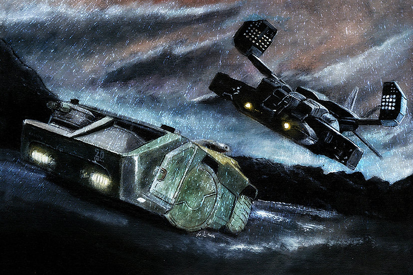 Aliens dropship and APC in rain front view