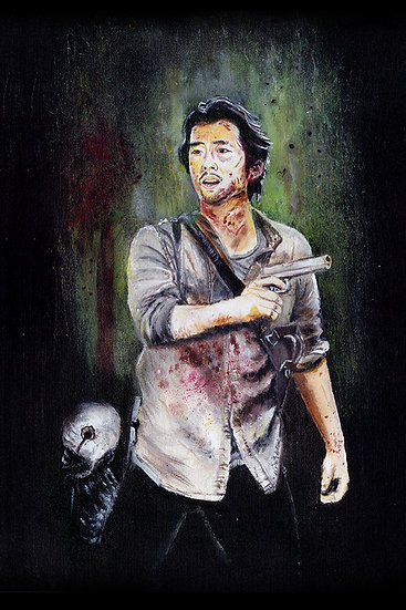 Steven Yeun as Glenn with walker zombie front view