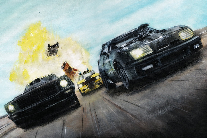 Mad Max cars and police car front view