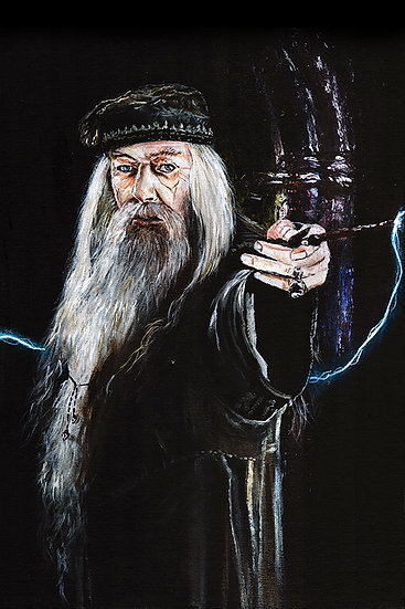 Dumbledore from Harry Potter, Michael Gambon, holding wand
