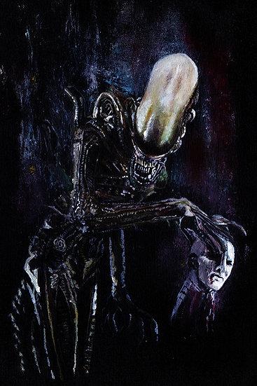 Alien Xenomorph with Prometheus engineer head front view
