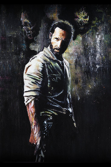 Andrew Lincoln as Rick Grimes with walker zombie front view