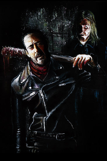 Jeffrey Dean Morgan as Negan with Dwight front view