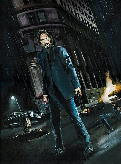 Keanu Reeves John Wick with dog, mustang
