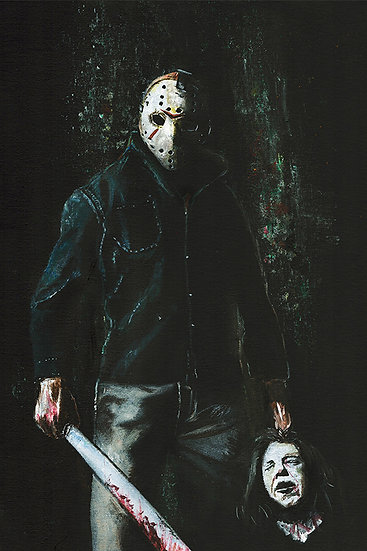 Jason Voorhees Friday the 13th, horror with severed head and machete
