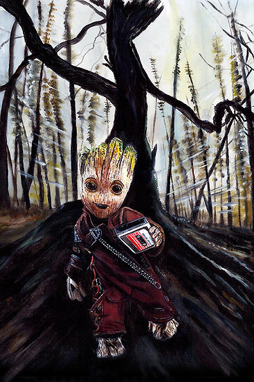 Baby Groot running fast trough woods holding mix tape front view