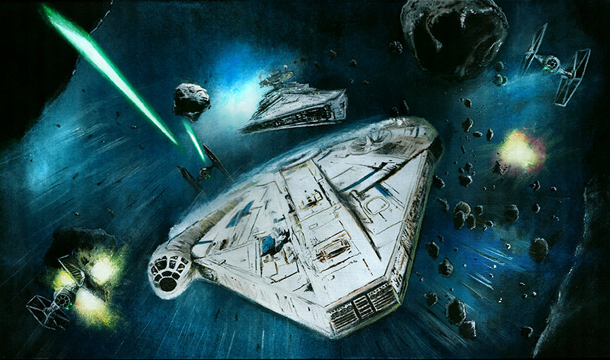 Millennium Falcon chased by TIE fighters in the Kessel Run front view