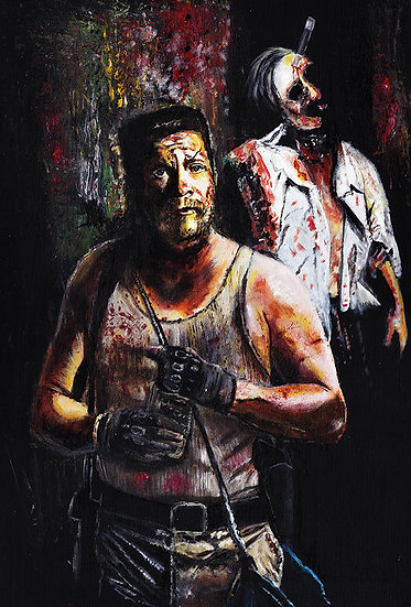 Walking Dead Michael Cudlitz as Abraham with walker zombies front view