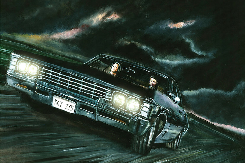 Sam and Dean Winchester driving with Impala with dark clouds front view