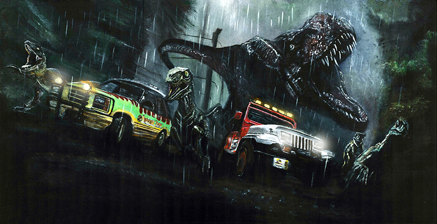 Jurassic Park T-Rex with velociraptor and Jeep and Ford Explorer racing front view