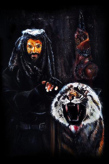 Kary Payton as Ezekiel with walker zombie front view