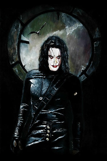 Brandon Lee as the Crow with broken window front view