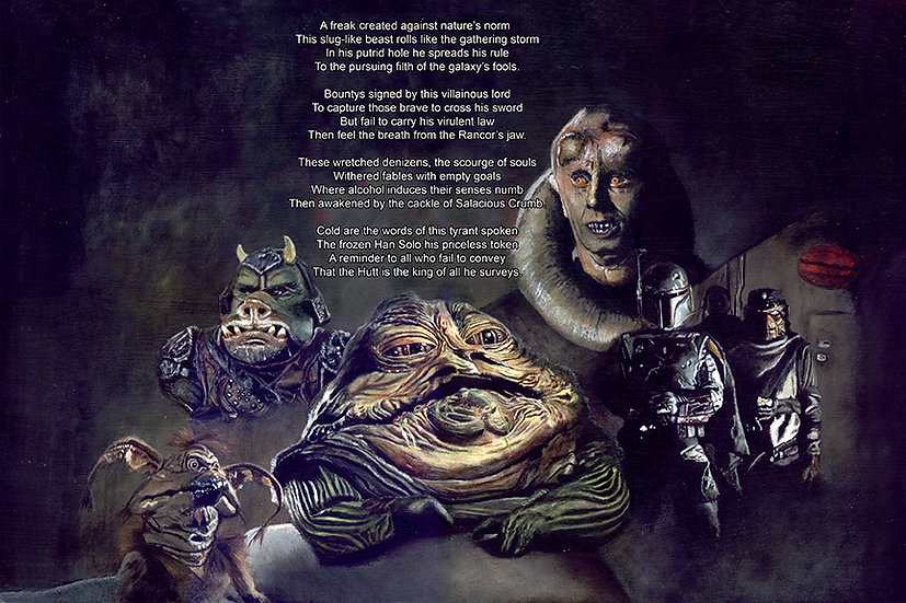 Jabba the hutt, bib fortuna, salacious crumb, gammorean guard with poem