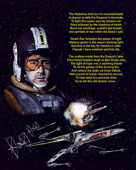 wedge antilles and x wing with poem