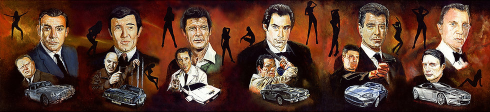 james bonds with cars and villains
