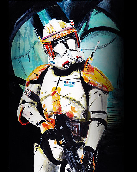Commander Cody with trees front view