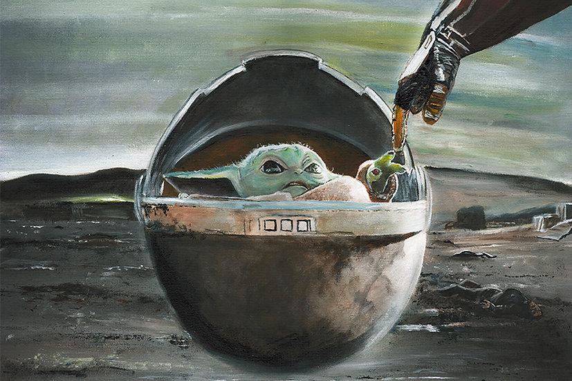 Baby Yoda with the Mandalorian