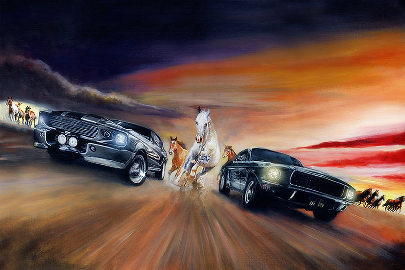 Bullitt and Elenor Mustangs with horses racing front view