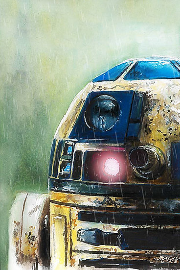 R2D2 on Dagobah with rain close up