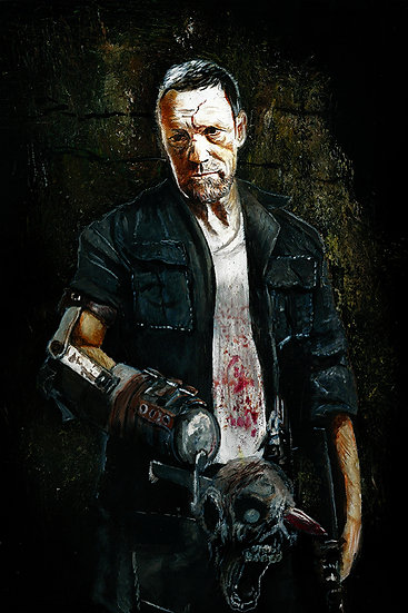 Michael Rooker as Merle with walker zombie front view