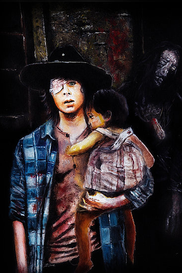 Chandler Riggs as Carl Grimes with walker zombie and Judith front view