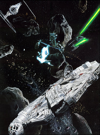Millennium Falcon chased in asteroid field by TIE fighters front view