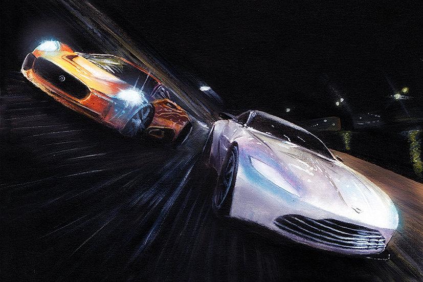 James Bond Spectre Jaguar C-X75 and Aston Martin DB10 racing front view