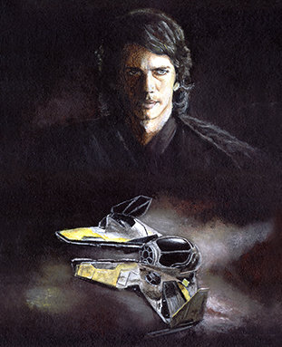 Anakin Skywalker and his jedi starfighter front view