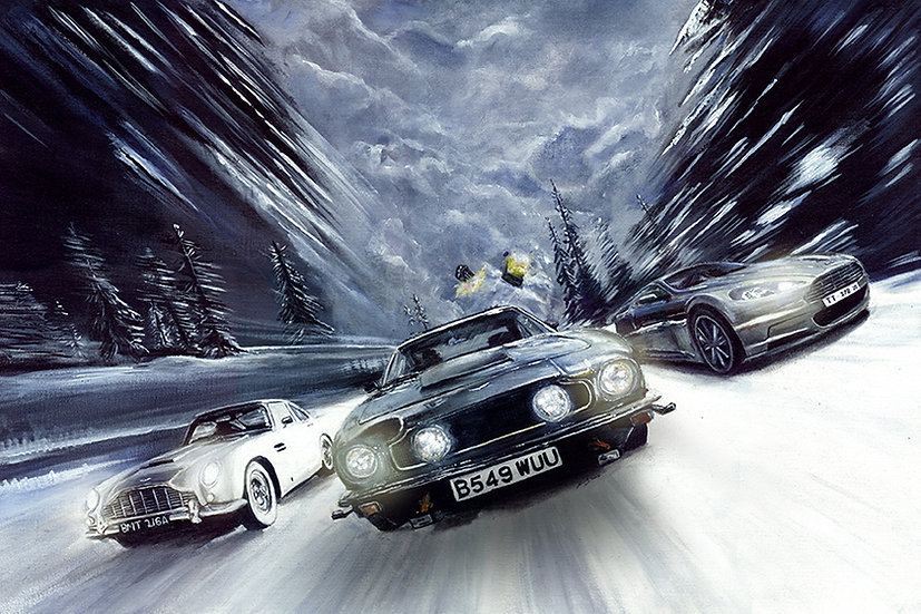 James Bond Aston Martins racing in snow front view