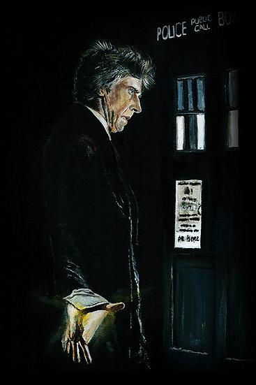 Doctor Who number 12, Peter Capaldi and Tardis, regenerating