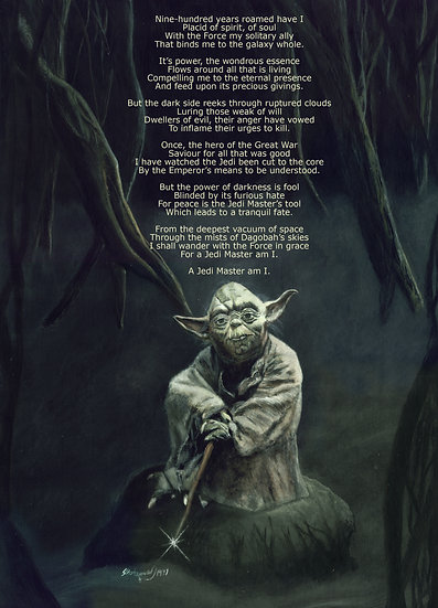 Yoda on Dagobah with stick and poem front view