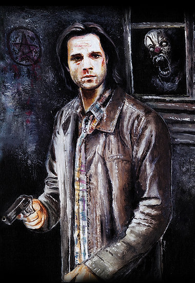 Jared Padalecki as Sam Winchester with gun and clown front view
