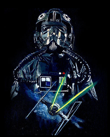 Tie fighter pilot with TIE fighter front view