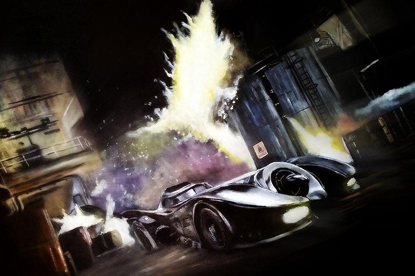 Tim Burton batmobile with explosions