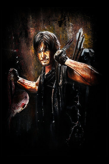 Norman Reedus as Daryl Dixon with walker zombie front view