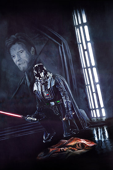 Darth Vader picking up lightsaber with Obiwan kenobi memory front view