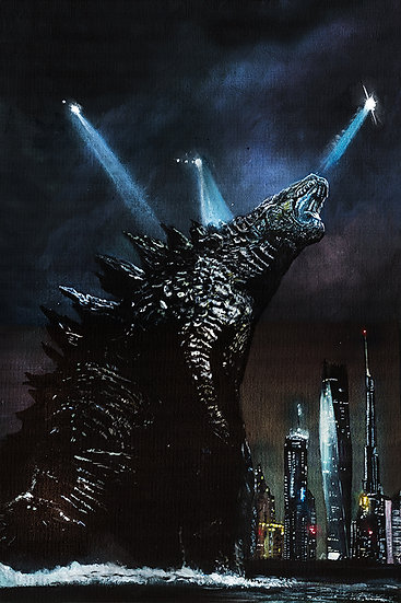 Godzilla walking out of sea, with helicopters in Dubai, Burj Khalifa