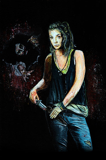 Emily Kinney as Beth with walker zombie front view
