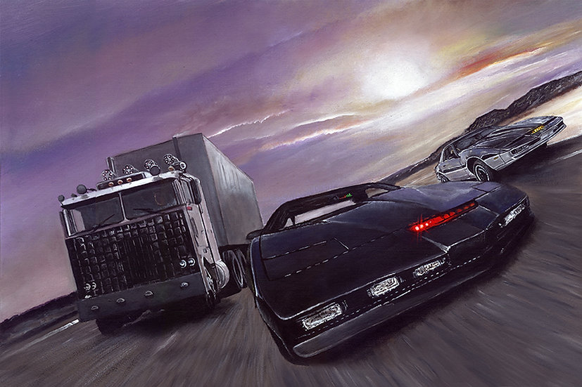 Knight Rider KITT Goliath and KARR racing front view